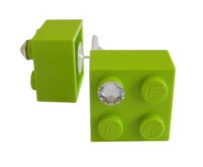 Light Green LEGO® brick 2x2 with a 'Diamond' color SWAROVSKI® crystal on a Silver plated stud/silicone back stopper