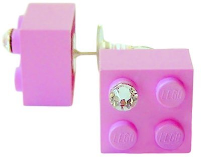 Light Pink LEGO® brick 2x2 with a 'Diamond' color SWAROVSKI® crystal on a Silver plated stud/silicone back stopper