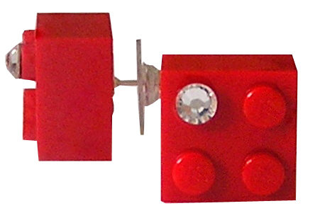 Red LEGO® brick 2x2 with a 'Diamond' color SWAROVSKI® crystal on a Silver plated stud/silicone back stopper