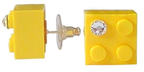 Yellow LEGO® brick 2x2 with a 'Diamond' color SWAROVSKI® crystal on a Silver plated stud/silicone back stopper
