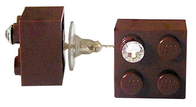 Brown LEGO® brick 2x2 with a 'Diamond' color SWAROVSKI® crystal on a Silver plated stud/silicone back stopper