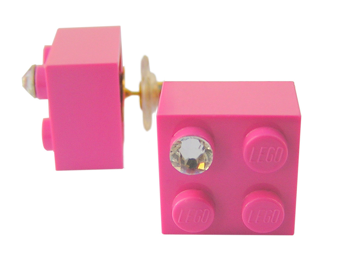 Dark Pink LEGO® brick 2x2 with a 'Diamond' color SWAROVSKI® crystal on a Gold plated stud/silicone back stopper