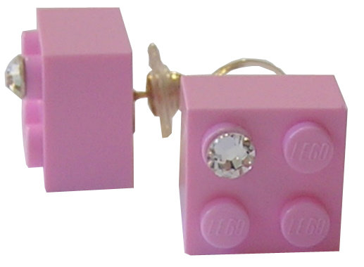 Light Pink LEGO® brick 2x2 with a 'Diamond' color SWAROVSKI® crystal on a Gold plated stud/silicone back stopper