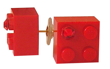 Red LEGO® brick 2x2 with a Red SWAROVSKI® crystal on a Gold plated stud/silicone back stopper