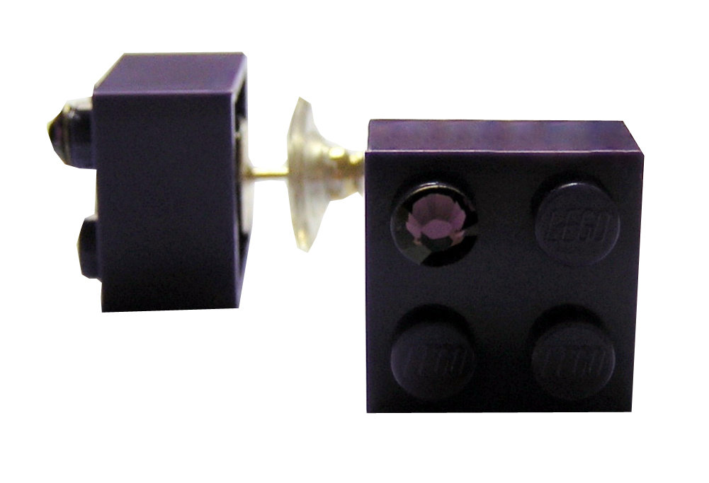 Purple LEGO® brick 2x2 with a Purple SWAROVSKI® crystal on a Silver plated stud/silicone back stopper