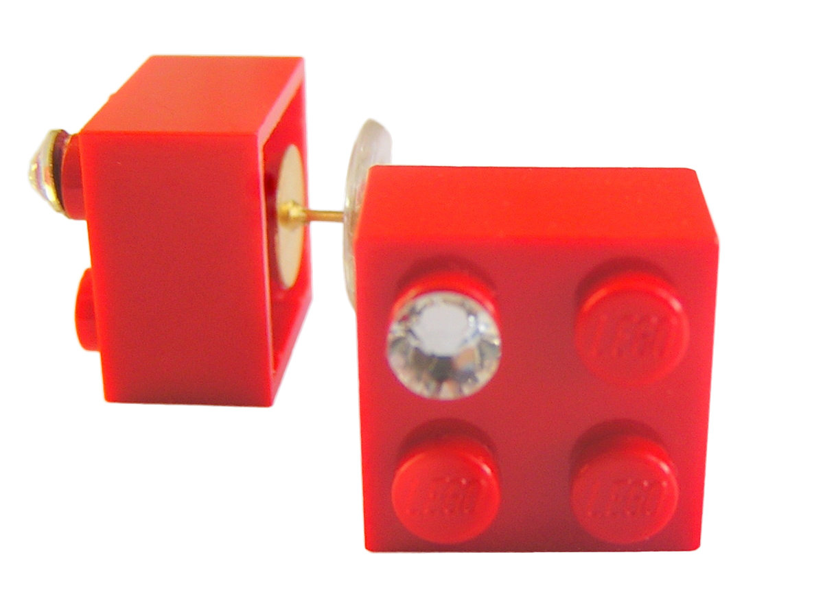 Red LEGO® brick 2x2 with a 'Diamond' color SWAROVSKI® crystal on a Gold plated stud/silicone back stopper