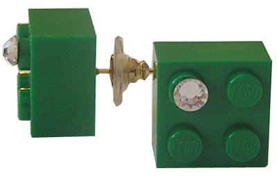 Dark Green LEGO® brick 2x2 with a 'Diamond' color SWAROVSKI® crystal on a Gold plated stud/silicone back stopper