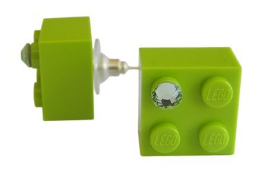​Light Green LEGO® brick 2x2 with a Green SWAROVSKI® crystal on a Silver plated stud/silicone back stopper