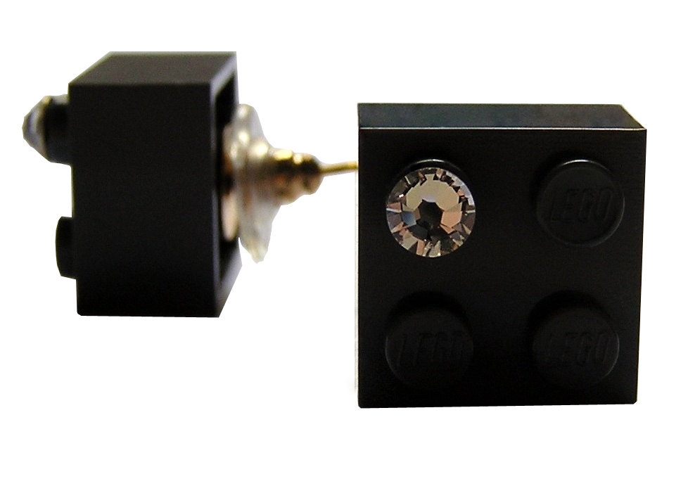 Gray LEGO® brick 2x2 with a 'Diamond' color SWAROVSKI® crystal on a Gold plated stud/silicone back stopper