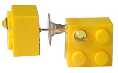 Yellow LEGO® brick 2x2 with a Yellow SWAROVSKI® crystal on a Silver plated stud/silicone back stopper