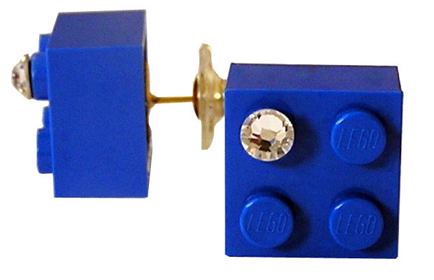 ​Dark Blue LEGO® brick 2x2 with a 'Diamond' color SWAROVSKI® crystal on a Gold plated stud/silicone back stopper