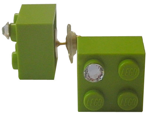 Light Green LEGO® brick 2x2 with a 'Diamond' color SWAROVSKI® crystal on a Gold plated stud/silicone back stopper