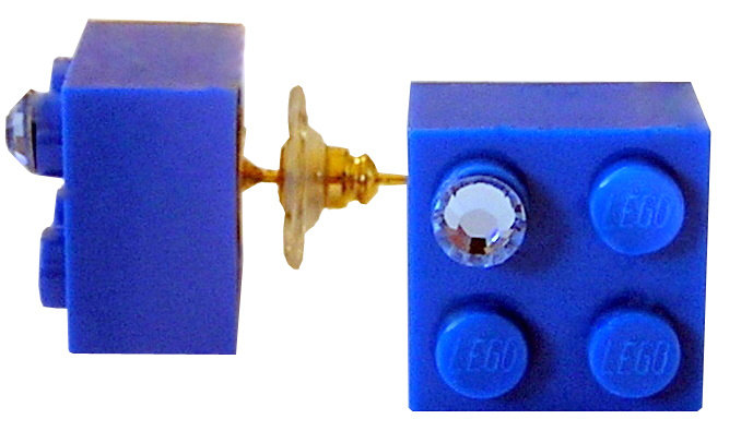​​Dark Blue LEGO® brick 2x2 with a Blue SWAROVSKI® crystal on a Gold plated stud/silicone back stopper