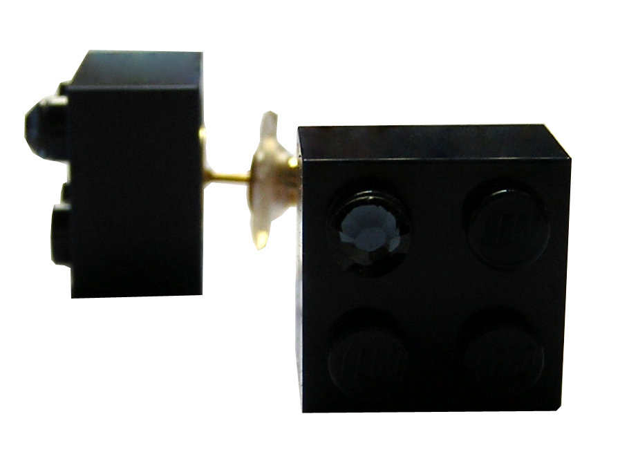 Navy Blue LEGO® brick 2x2 with a Blue SWAROVSKI® crystal on a Gold plated stud/silicone back stopper