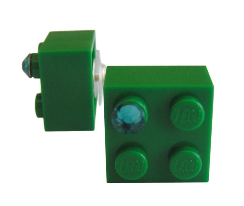 ​​Dark Green LEGO® brick 2x2 with a Green SWAROVSKI® crystal on a Silver plated stud/silicone back stopper