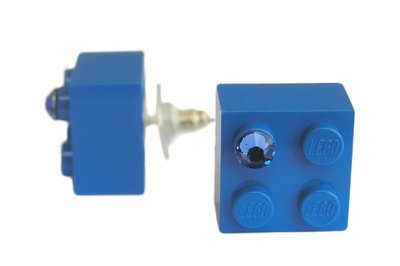 ​Dark Blue LEGO® brick 2x2 with a Blue SWAROVSKI® crystal on a Silver plated stud/silicone back stopper