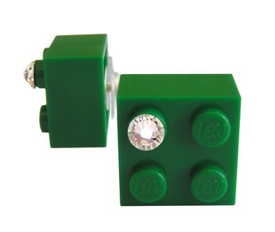 ​Dark Green LEGO® brick 2x2 with a 'Diamond' color SWAROVSKI® crystal on a Silver plated stud/silicone back stopper
