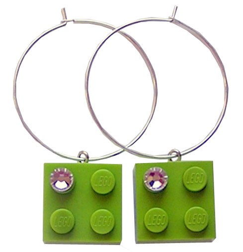 ​Light Green LEGO® brick 2x2 with a 'Diamond' color SWAROVSKI® crystal on a Silver plated hoop