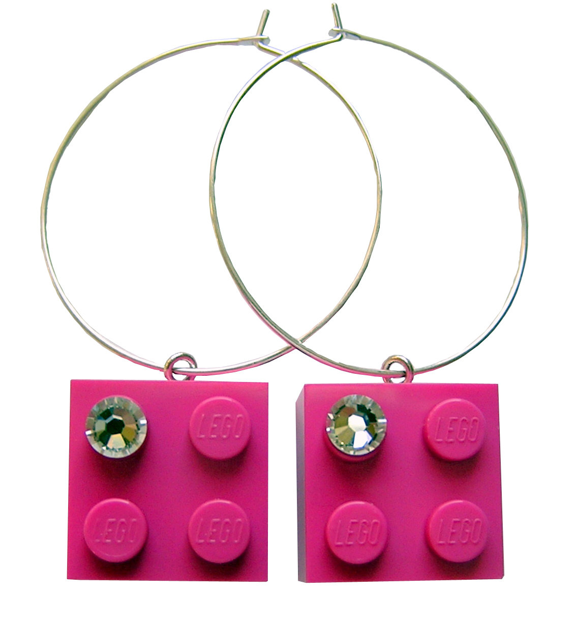 Dark Pink LEGO® brick 2x2 with a 'Diamond' color SWAROVSKI® crystal on a Silver plated hoop