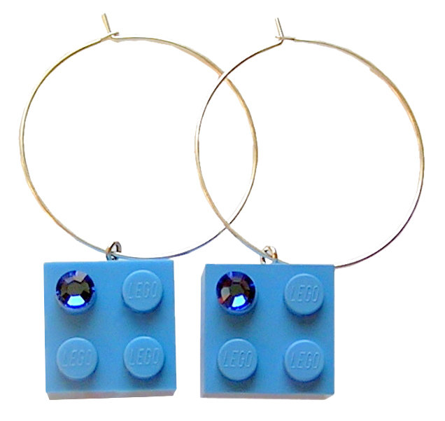 ​Light Blue LEGO® brick 2x2 with a Blue SWAROVSKI® crystal on a Silver plated hoop