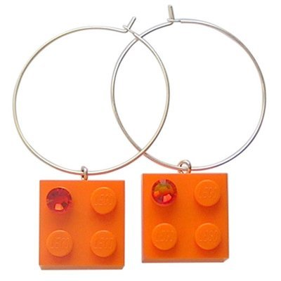 ​Orange LEGO® brick 2x2 with an Orange SWAROVSKI® crystal on a Silver plated hoop