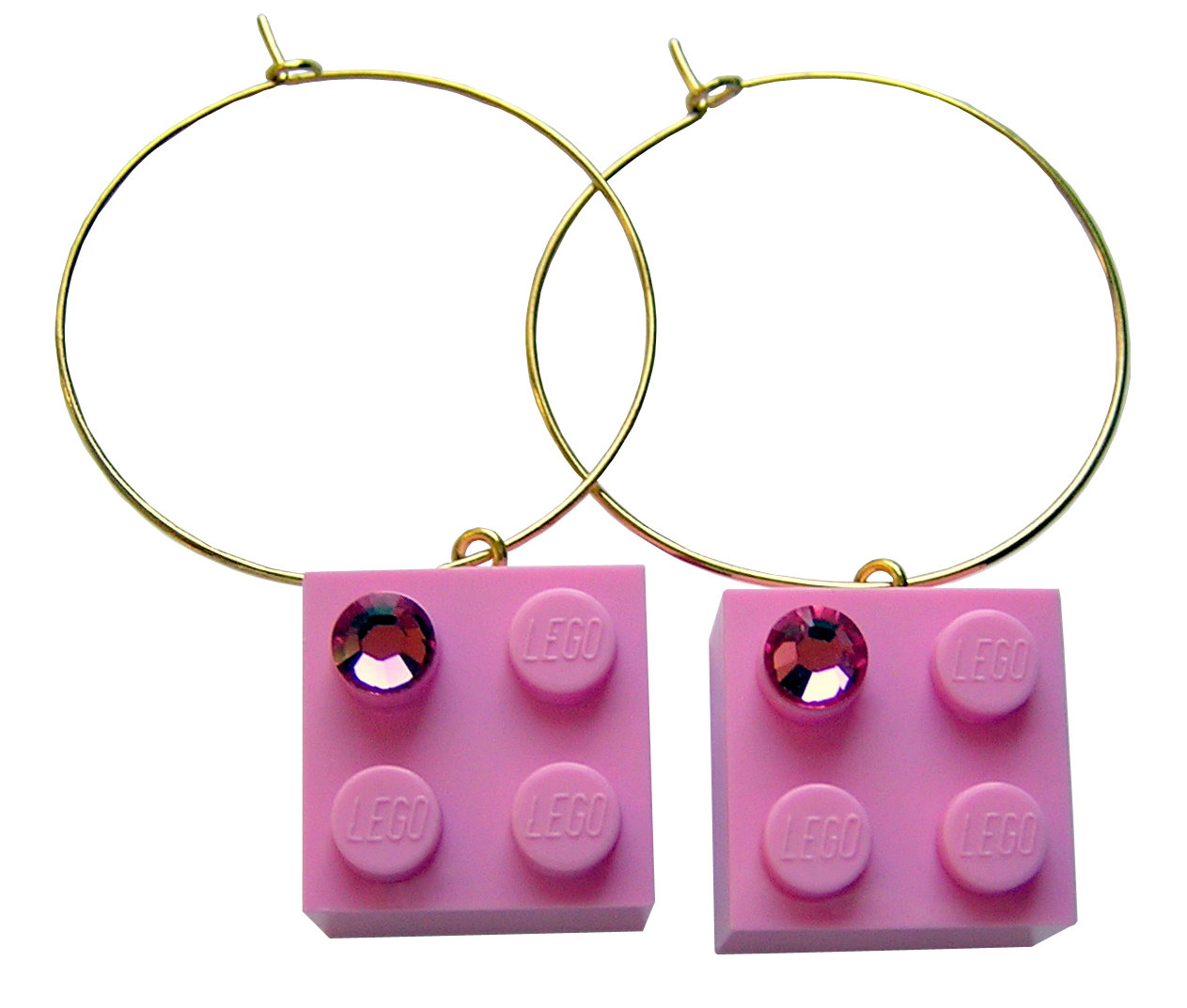 Light Pink LEGO® brick 2x2 with a Pink SWAROVSKI® crystal on a Gold plated hoop