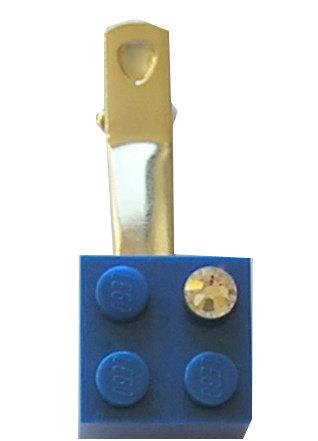 Dark Blue LEGO® brick 2x2 with a 'Diamond' color SWAROVSKI® crystal on a Silver plated hair clip (one piece)