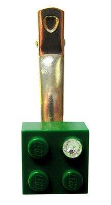 Dark Green LEGO® brick 2x2 with a 'Diamond' color SWAROVSKI® crystal on a Silver plated hair clip (one piece)