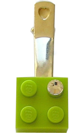 ​Light Green LEGO® brick 2x2 with a 'Diamond' color SWAROVSKI® crystal on a Silver plated hair clip (one piece)​