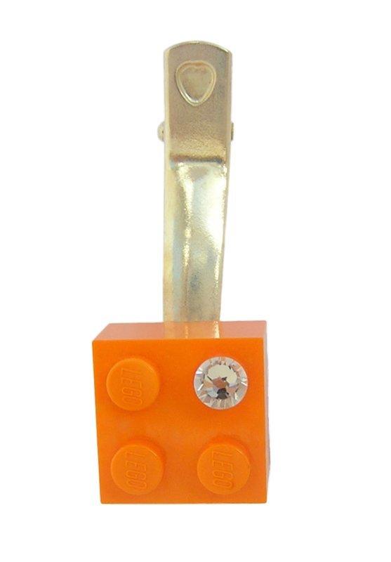 Orange LEGO® brick 2x2 with a 'Diamond' color SWAROVSKI® crystal on a Silver plated hair clip (one piece)