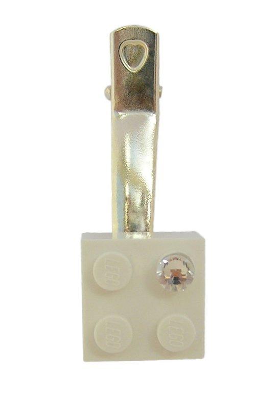 White LEGO® brick 2x2 with a 'Diamond' color SWAROVSKI® crystal on a Silver plated hair clip (one piece)