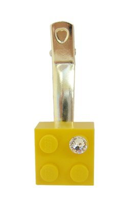 Yellow LEGO® brick 2x2 with a 'Diamond' color SWAROVSKI® crystal on a Silver plated hair clip (one piece)