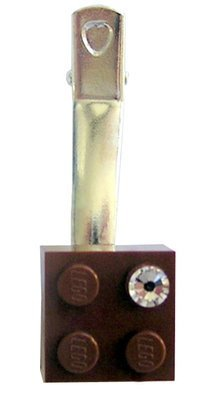 Brown LEGO® brick 2x2 with a 'Diamond' color SWAROVSKI® crystal on a Silver plated hair clip (one piece)