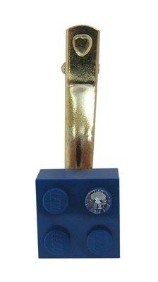 Dark Blue LEGO® brick 2x2 with a Blue SWAROVSKI® crystal on a Silver plated hair clip (one piece)