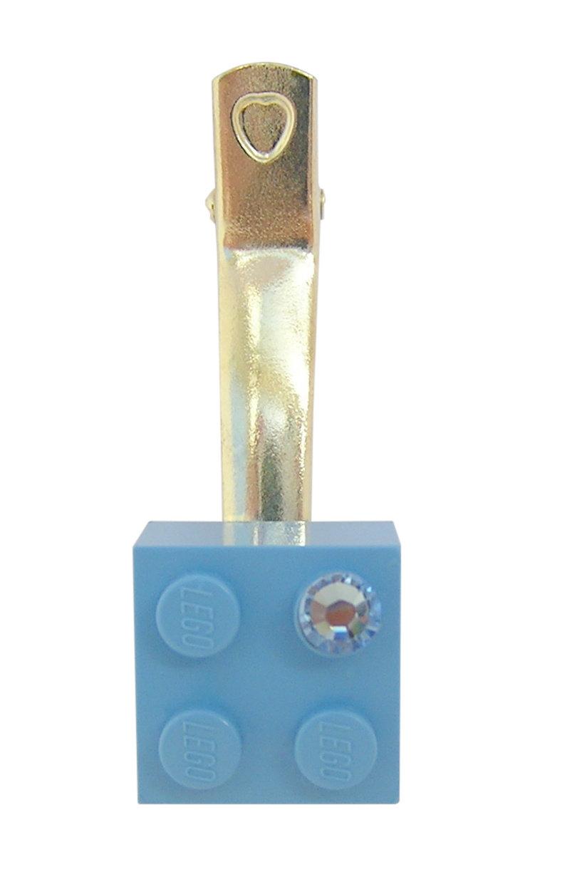 Light Blue LEGO® brick 2x2 with a Blue SWAROVSKI® crystal on a Silver plated hair clip (one piece)