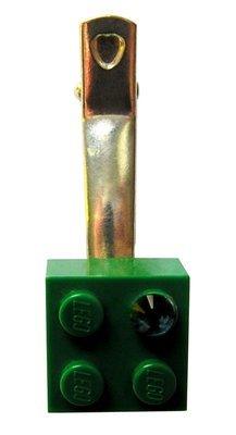 Dark Green LEGO® brick 2x2 with a Green SWAROVSKI® crystal on a Silver plated hair clip (one piece)