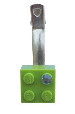 Light Green LEGO® brick 2x2 with a Green SWAROVSKI® crystal on a Silver plated hair clip (one piece)