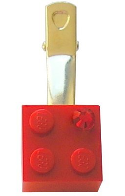 Red LEGO® brick 2x2 with a Red SWAROVSKI® crystal on a Silver plated hair clip (one piece)
