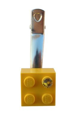 Yellow LEGO® brick 2x2 with a Yellow SWAROVSKI® crystal on a Silver plated hair clip (one piece)