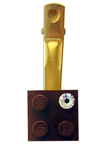 ​Brown LEGO® brick 2x2 with a 'Diamond' color SWAROVSKI® crystal on a Gold plated hair clip (one piece)