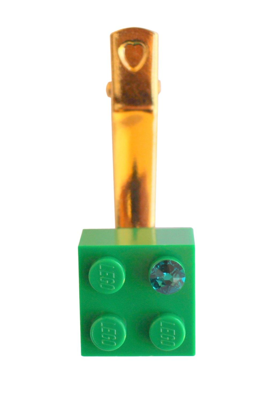 Dark Green LEGO® brick 2x2 with a Green SWAROVSKI® crystal on a Gold plated hair clip (one piece)