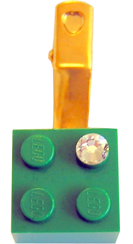 ​Dark Green LEGO® brick 2x2 with a 'Diamond' color SWAROVSKI® crystal on a Gold plated hair clip (one piece)