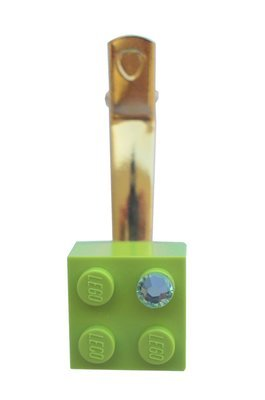 Light Green LEGO® brick 2x2 with a Green SWAROVSKI® crystal on a Gold plated hair clip (one piece)