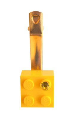 Yellow LEGO® brick 2x2 with a Yellow SWAROVSKI® crystal on a Gold plated hair clip (one piece)
