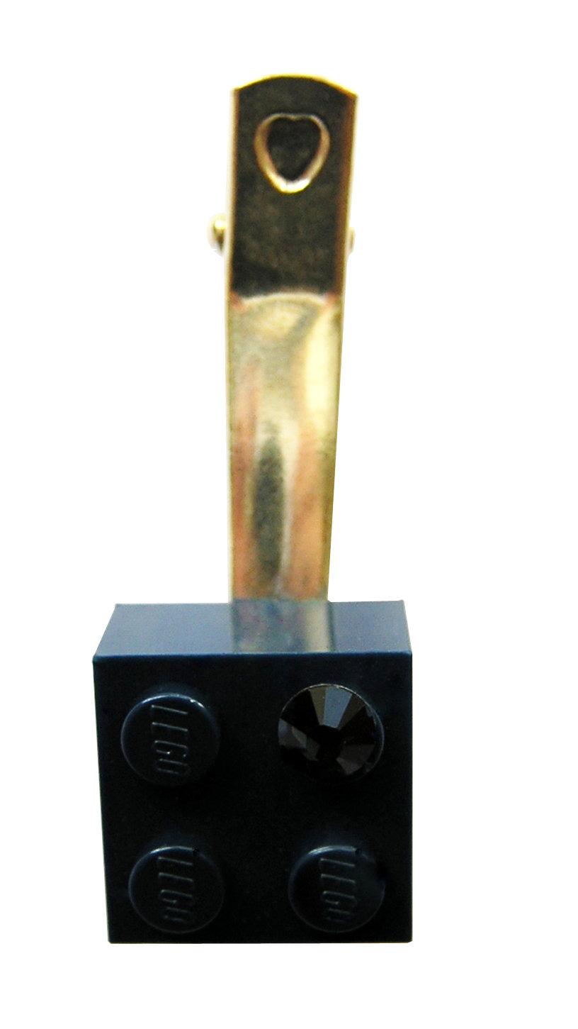 Navy Blue LEGO® brick 2x2 with a Blue SWAROVSKI® crystal on a Silver plated hair clip (one piece)