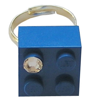 Dark Blue LEGO® brick 2x2 with a 'Diamond' color SWAROVSKI® crystal on a Silver plated adjustable ring finding 