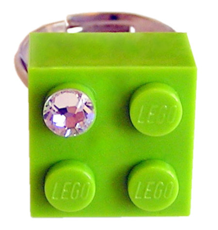 Light Green LEGO® brick 2x2 with a 'Diamond' color SWAROVSKI® crystal on a Silver plated adjustable ring finding