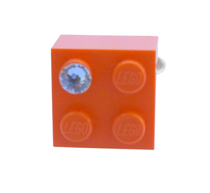 ​Orange LEGO® brick 2x2 with a 'Diamond' color SWAROVSKI® crystal on a Silver plated adjustable ring finding ​