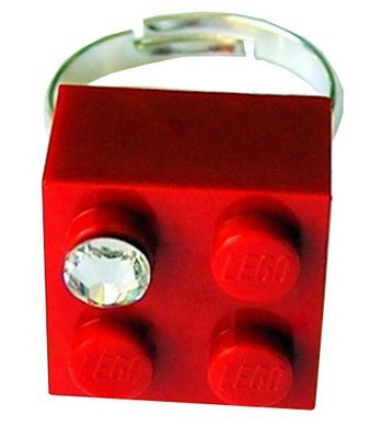 Red LEGO® brick 2x2 with a 'Diamond' color SWAROVSKI® crystal on a Silver plated adjustable ring finding 