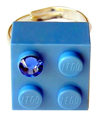 ​Light Blue LEGO® brick 2x2 with a Blue SWAROVSKI® crystal on a Silver plated adjustable ring ​finding